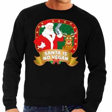 Foute kersttrui zwart santa is no vegan voor heren