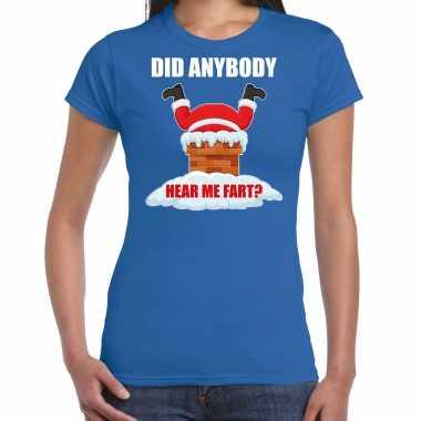 Fun kerstshirt / outfit did anybody hear my fart blauw voor dames