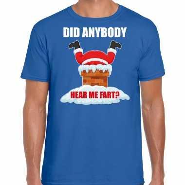 Fun kerstshirt / outfit did anybody hear my fart blauw voor heren