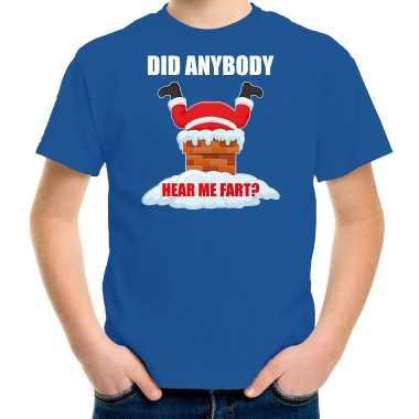 Fun kerstshirt / outfit did anybody hear my fart blauw voor kinderen
