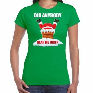 Fun kerstshirt / outfit did anybody hear my fart groen voor dames