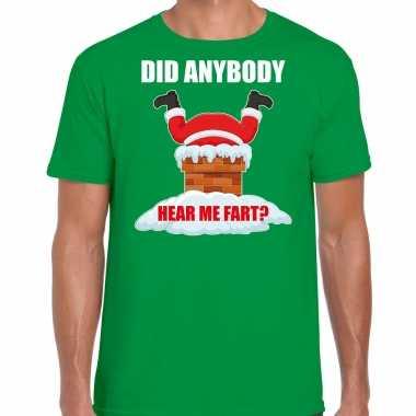 Fun kerstshirt / outfit did anybody hear my fart groen voor heren