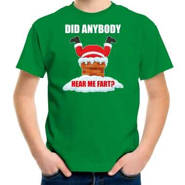 Fun kerstshirt / outfit did anybody hear my fart groen voor kinderen