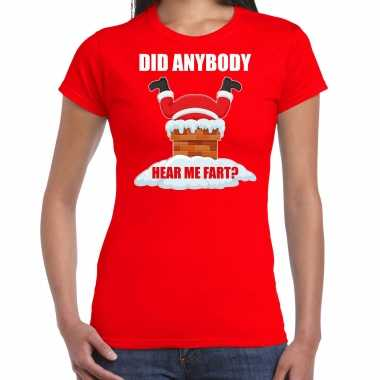 Fun kerstshirt / outfit did anybody hear my fart rood voor dames