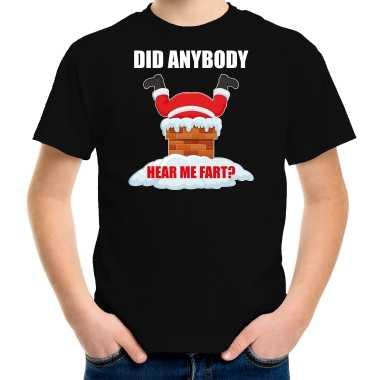 Fun kerstshirt / outfit did anybody hear my fart zwart voor kinderen