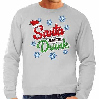 Grijze foute kersttrui / sweater santa is a little drunk voor heren