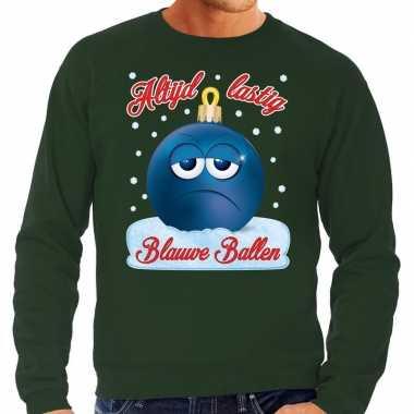 Groene foute kerstsweater / trui blauwe ballen / blue balls voor heren