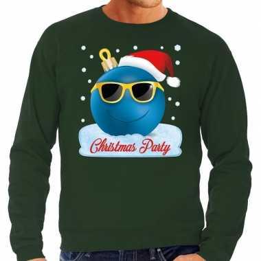 Groene foute kerstsweater / trui christmas party voor heren
