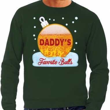 Groene foute kerstsweater / trui daddy his favorite balls met bier print voor heren