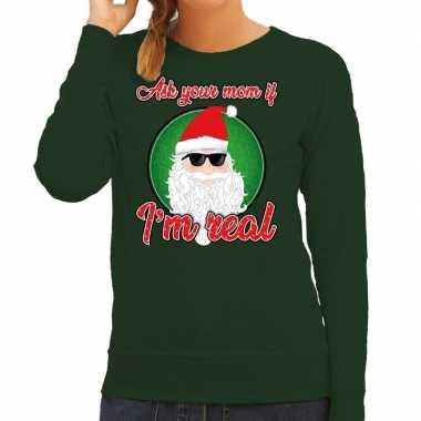 Groene foute kersttrui / sweater ask your mom voor dames