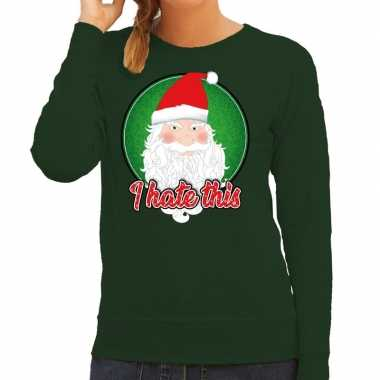 Groene foute kersttrui / sweater i hate this voor dames