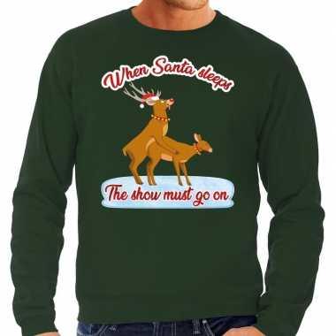 Groene foute kersttrui / sweater rendieren aan het seksen voor heren
