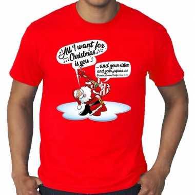 Grote maat kerst shirt rood kerstman die gitaar speelt en zingt voor heren