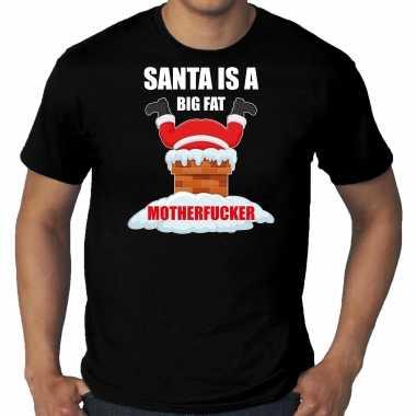Grote maten fout kerstshirt / outfit santa is a big fat motherfucker zwart voor heren