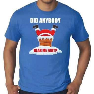 Grote maten fun kerstshirt / outfit did anybody hear my fart blauw voor heren