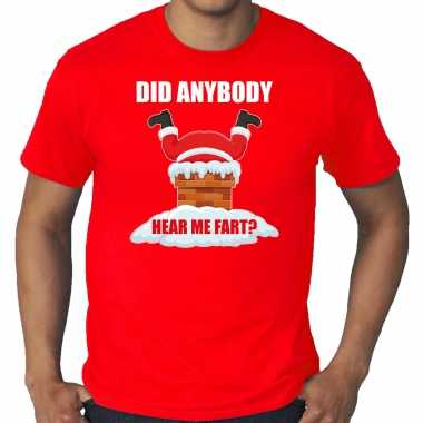 Grote maten fun kerstshirt / outfit did anybody hear my fart rood voor heren