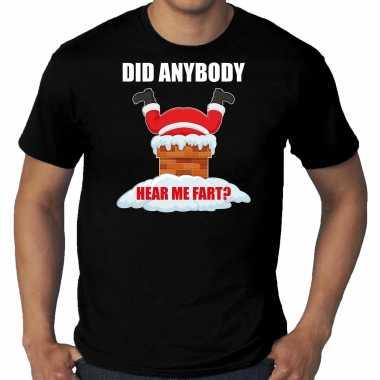Grote maten fun kerstshirt / outfit did anybody hear my fart zwart voor heren