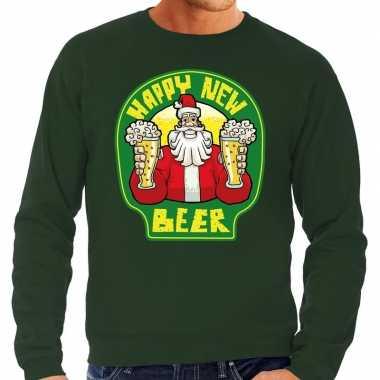Grote maten groene foute kersttrui / sweater proostende santa happy new beer voor heren