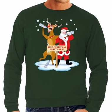 Grote maten kersttrui dronken kerstman en rendier groen heren