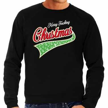 Grote maten zwarte foute kersttrui / sweater merry fucking christmas voor heren