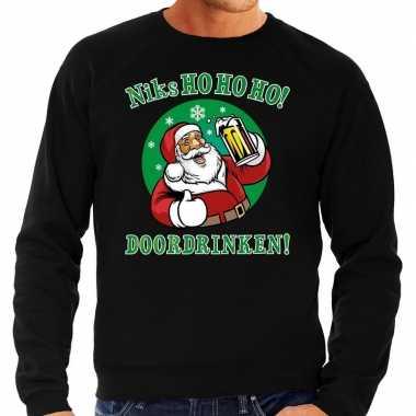 Grote maten zwarte foute kersttrui / sweater niks ho ho ho doordrinken met pul bier voor heren