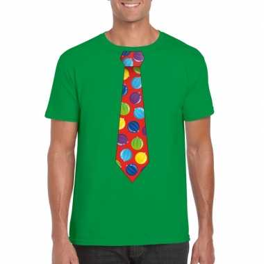 Kerst t-shirt stropdas met kerstballen print groen voor heren