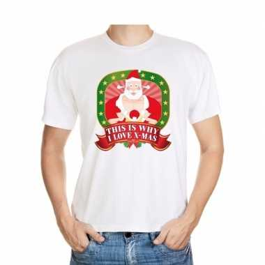 Kerstmis shirt wit this is why i love x mas player kerstman voor mannen