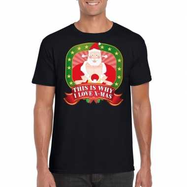 Kerstmis shirt zwart this is why i love x-mas player kerstman voor ma