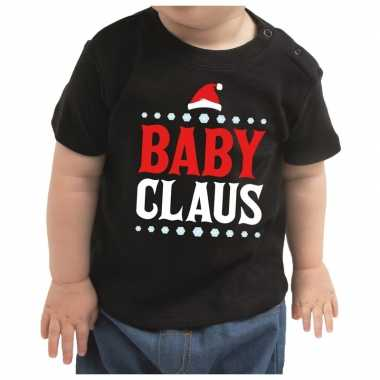 Kerstshirt baby claus zwart baby jongen/meisje
