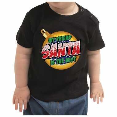 Kerstshirt my friend santa is the best zwart voor peuters
