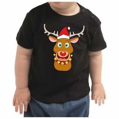 Kerstshirt rudolf het rendier zwart baby jongen/meisje