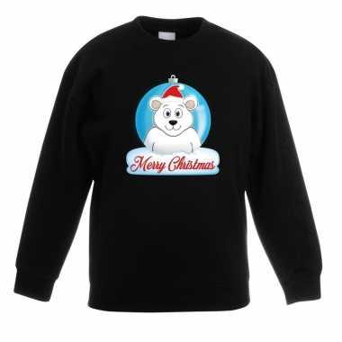 Kersttrui merry christmas ijsbeer kerstbal zwart kinderen