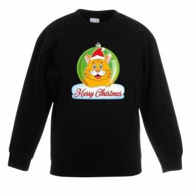 Kersttrui merry christmas oranje kat / poes kerstbal zwart kinde