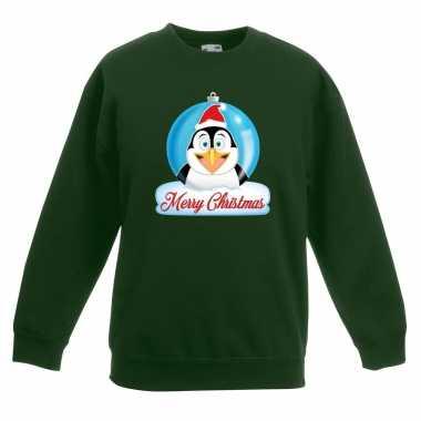 Kersttrui merry christmas pinguin kerstbal groen kinderen