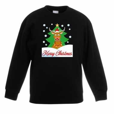 Kersttrui merry christmas rendier zwart kinderen