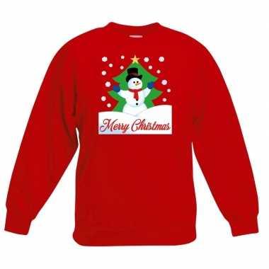 Kersttrui merry christmas sneeuwpop rood kinderen