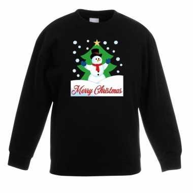 Kersttrui merry christmas sneeuwpop zwart kinderen