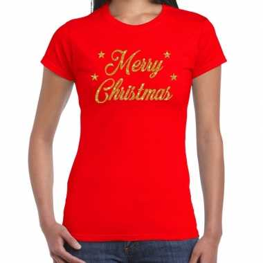 Rode foute kerst t-shirt merry christmas gouden letters voor dames