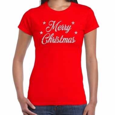Rode foute kerst t-shirt merry christmas zilveren letters voor dames