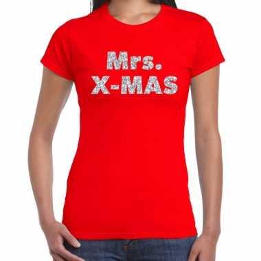 Rode foute kerst t-shirt mrs x-mas zilveren letters voor dames