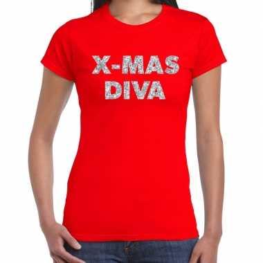 Rode foute kerst t-shirt x-mas diva zilveren letters voor dames