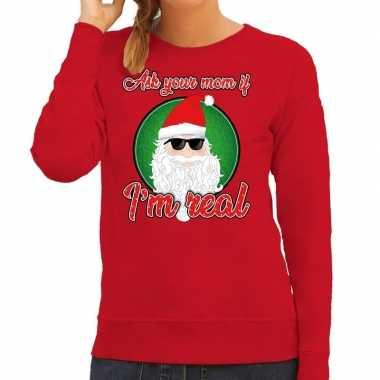 Rode foute kersttrui / sweater ask your mom voor dames