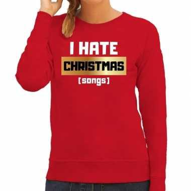 Rode foute kersttrui / sweater i hate christmas songs / haat kerstliedjesvoor dames