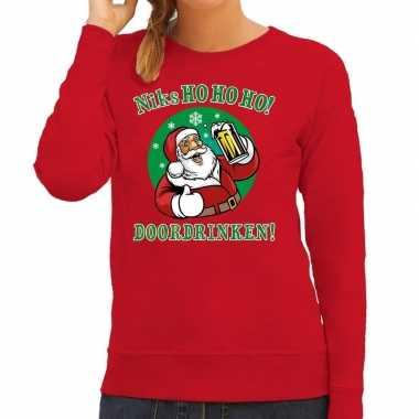 Rode foute kersttrui / sweater kerstman aan de drank voor dames
