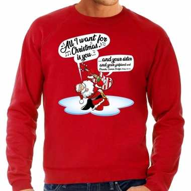 Rode foute kersttrui / sweater kerstman die gitaar speelt en zingt voor heren