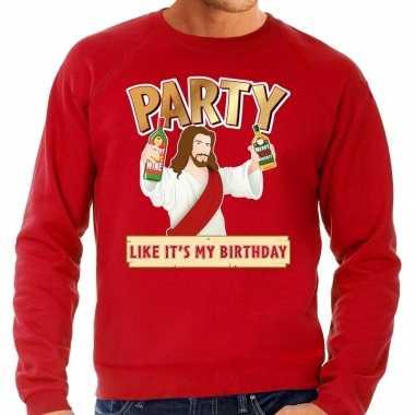 Rode foute kersttrui / sweater party jezus voor heren