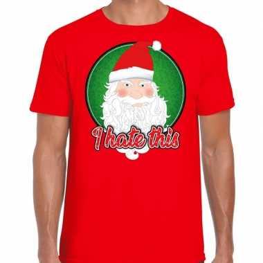 Rood fout kerstshirt / t-shirt i hate this voor heren
