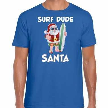 Surf dude santa fun kerstshirt / outfit blauw voor heren