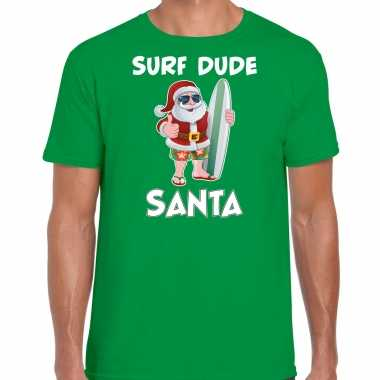 Surf dude santa fun kerstshirt / outfit groen voor heren