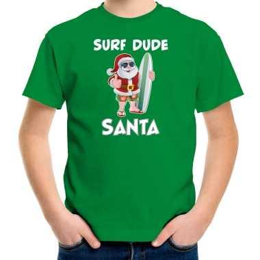 Surf dude santa fun kerstshirt / outfit groen voor kinderen
